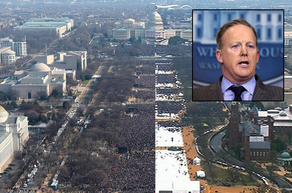 This pair of photos shows a view of the crowd on the National Mall at the inaugurations of President Barack Obama, above, on Jan. 20, 2009, and President Donald Trump, below, on Jan. 20, 2017. The photo above and the screengrab from video below were both shot shortly before noon from the top of the Washington Monument. Sean Spicer (inset), Trump's press secretary, said Saturday that the crowd was the largest to ever witness an inauguration,
