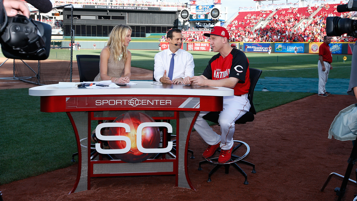 National League All-Star Todd Frazier of the Cincinnati Reds appears on SportsCenter on July 13, 2015 in Cincinnati, Ohio.