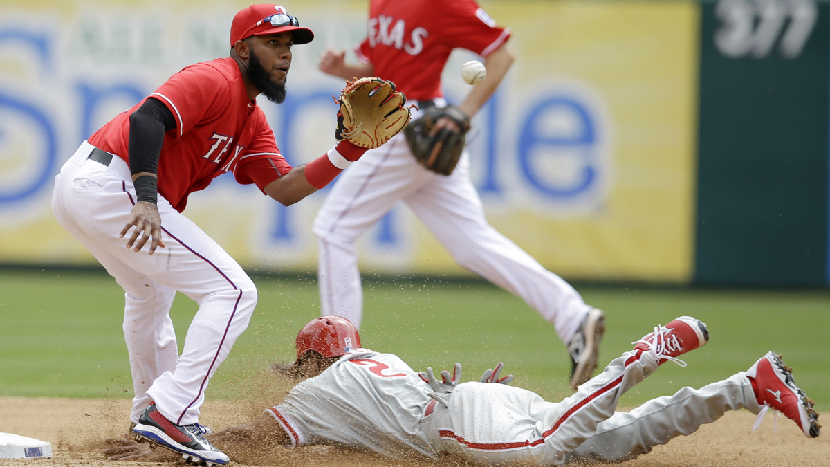 Philadelphia Phillies' Ben Revere steals second as Texas Rangers shortstop Elvis Andrus catches the ball during the fourth inning of an opening day baseball game at Globe Life Park, Monday, March 31, 2014, in Arlington, Texas.  (AP Photo/Tony Gutierrez)