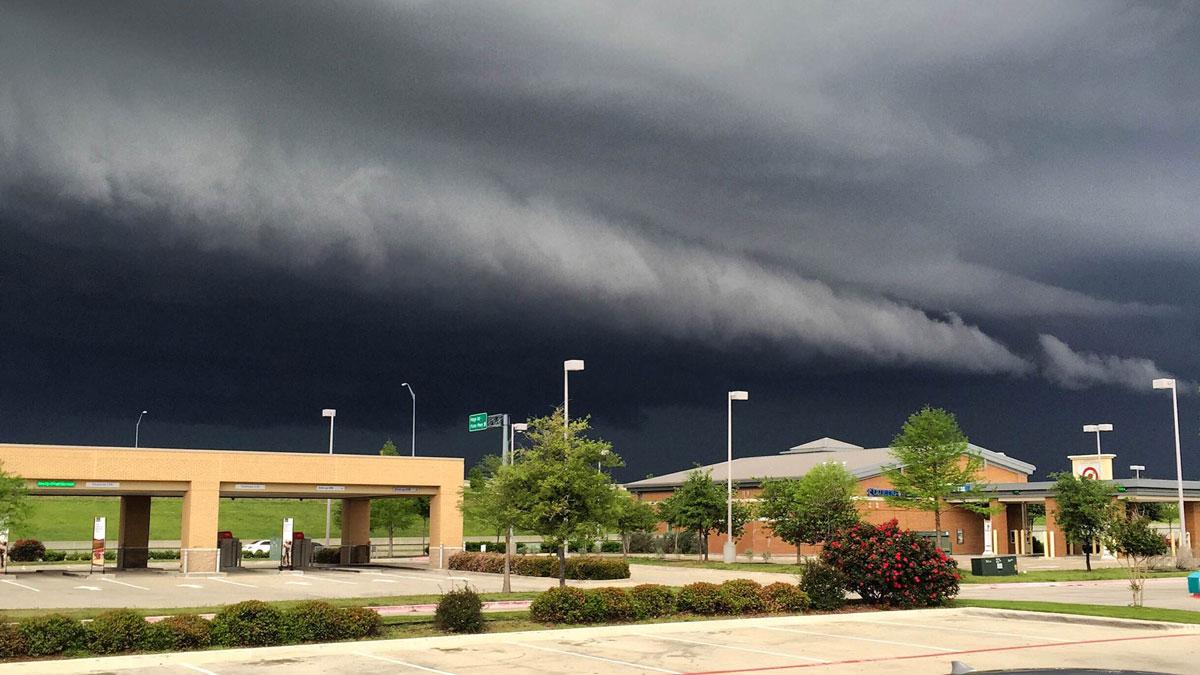 A wall cloud over Royse City, Texas.