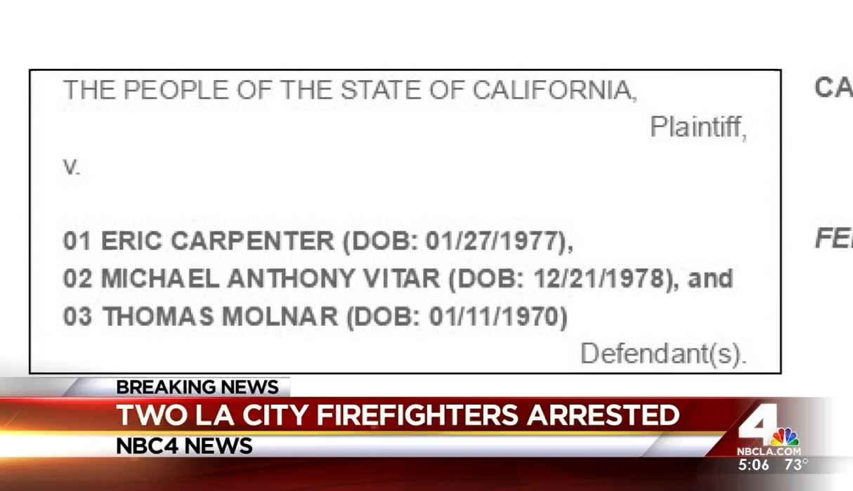 Two off-duty Los Angeles firefighters and a third man are facing charges they beat up a man on Halloween night, the District Attorney's office said Tuesday, Dec. 9, 2015.