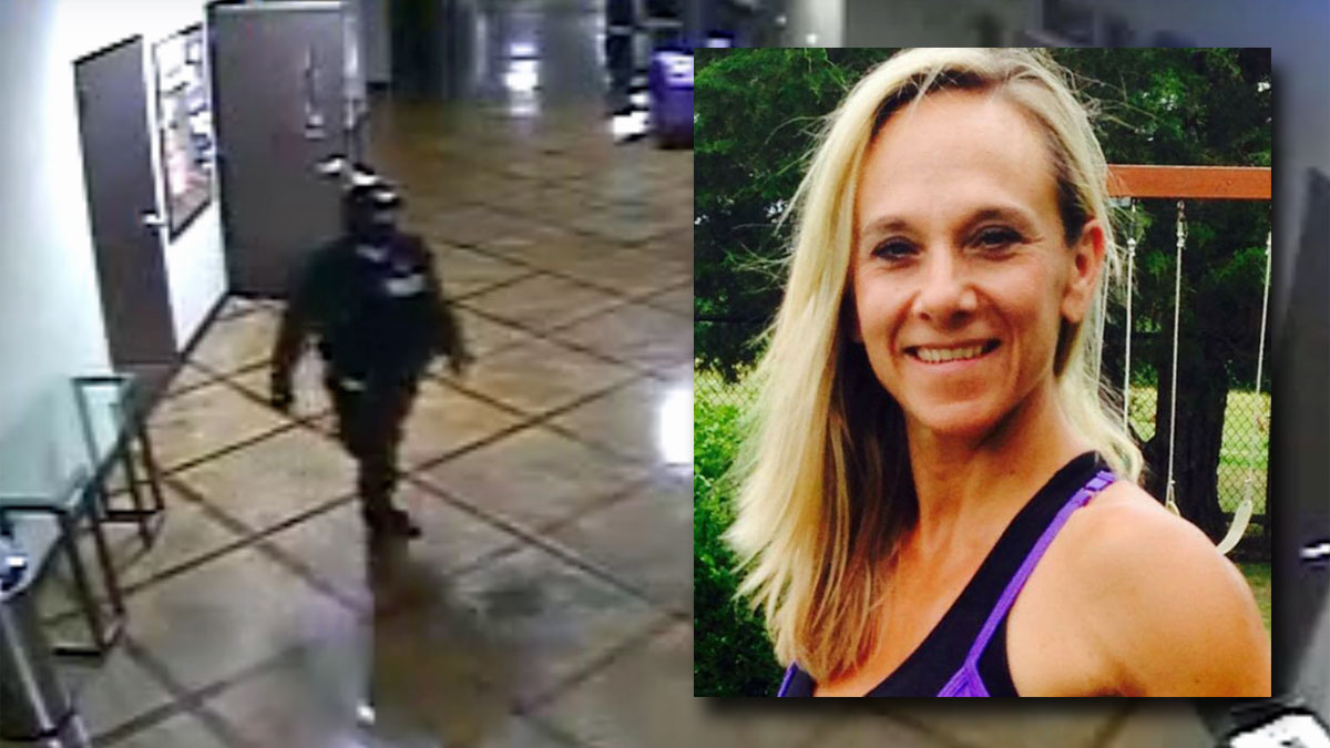 Midlothian police are looking for the person on the left wearing police-like tactical gear in connection with the slaying of 45-year-old Missy Bevers, inset. Bevers was declared dead after being found unresponsive in a church early Monday morning, April 18, 2016.