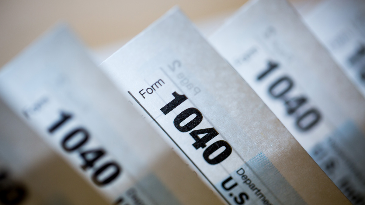 1040 Individual Income Tax forms for the 2015 tax year are pictured. Taxpayers have until Monday, April 18 to file.