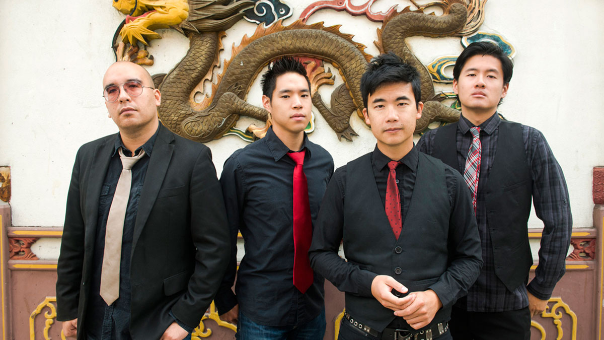 This file photo shows the Asian-American band The Slants, from left, Joe X Jiang, Ken Shima, Tyler Chen, Simon Tam and Joe X Jiang. The Supreme Court announced Thursday it will hear the band's case to trademark its controversial name.