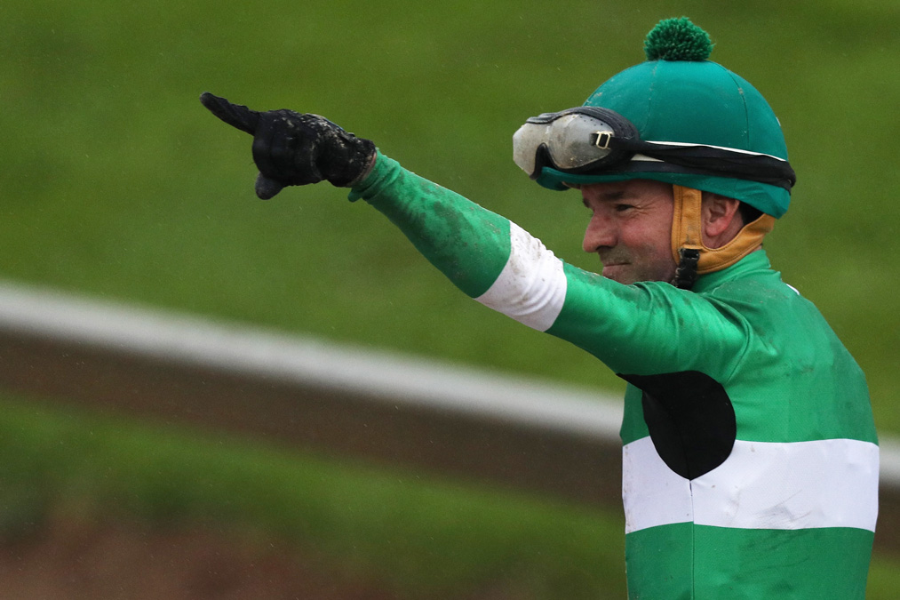 Jockey of Exaggerator Kent Desormeaux celebrates after winning the 141st running of the Preakness Stakes on May 21, 2016 in Baltimore, Maryland.