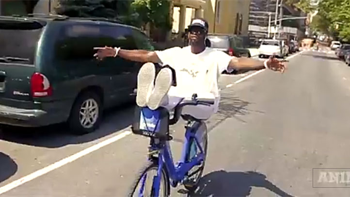 Tyrone Williams rides a Citi Bike without hands or feet in a video published last week.