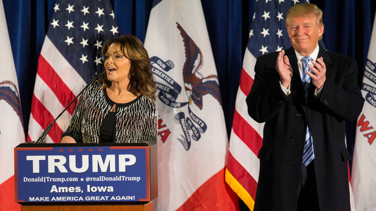 Former Alaska Gov. Sarah Palin speaks as she endorses Republican presidential candidate Donald Trump at a campaign stop, Tuesday, Jan. 19, 2016, in Ames, Iowa.