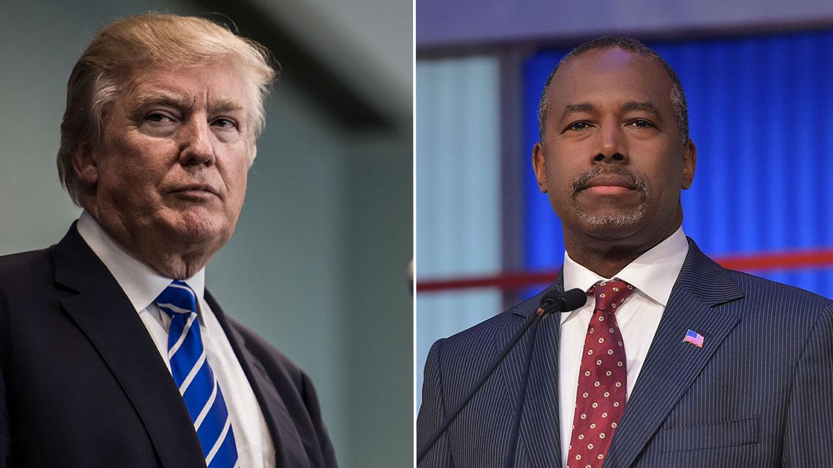Republican presidential candidates Ben Carson and Donald Trump.