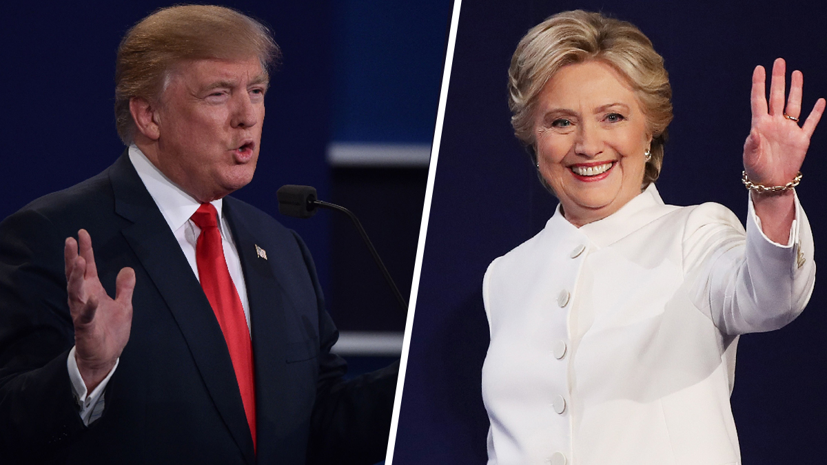 Donald Trump and Hillary Clinton at the start of their third presidential debate on Wednesday, Oct. 19, 2016. An NBC News Survey Monkey poll found that Clinton continues to maintain a lead over Trump leading into Election Day.