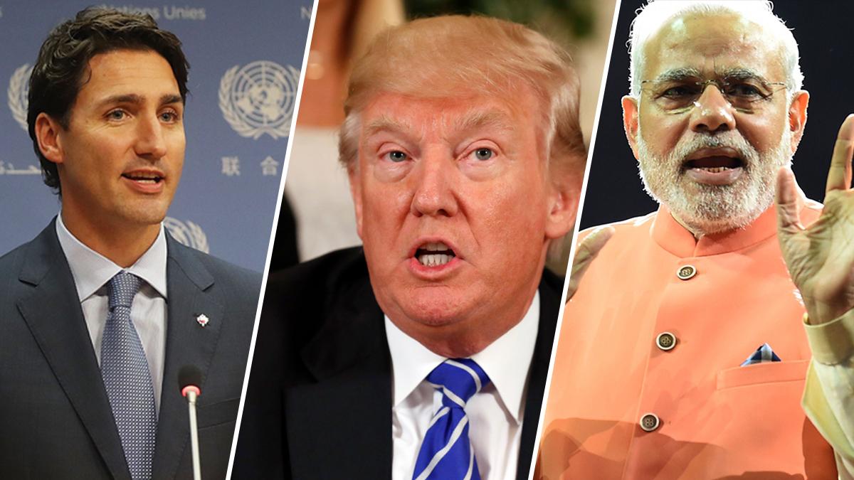 Justin Trudeau, Donald Trump and Narendra Modi.
