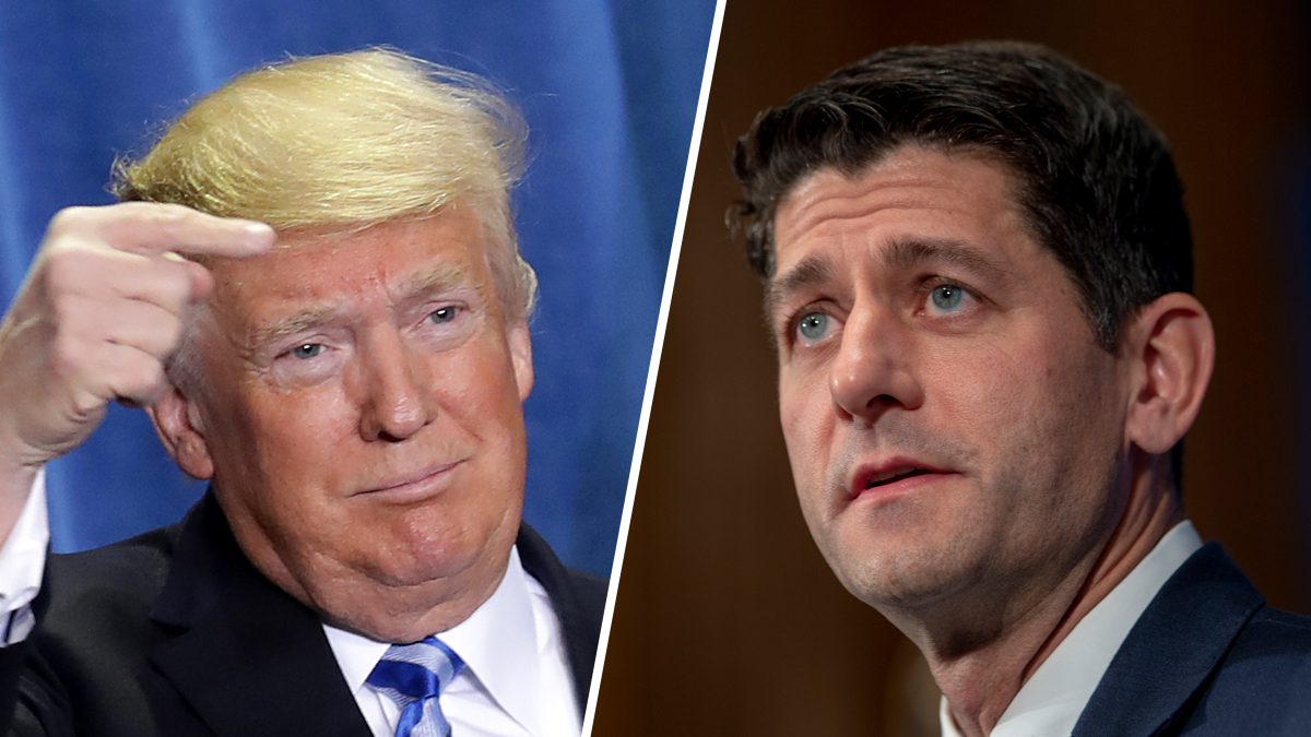 President Donald Trump, left, attacked Speaker of the House Paul Ryan Tuesday over Twitter, criticizing him for saying Trump cannot end birthright citizenship with an executive order.