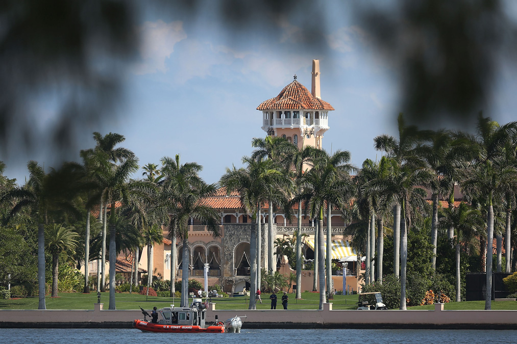 A Coast Guard boat is seen patrolling in front of the Mar-a-Lago Resort where President-elect Donald Trump is staying for the weekend on February 4, 2017 in Palm Beach, Florida. President Donald Trump is on his his first visit to Palm Beach since his inauguration.