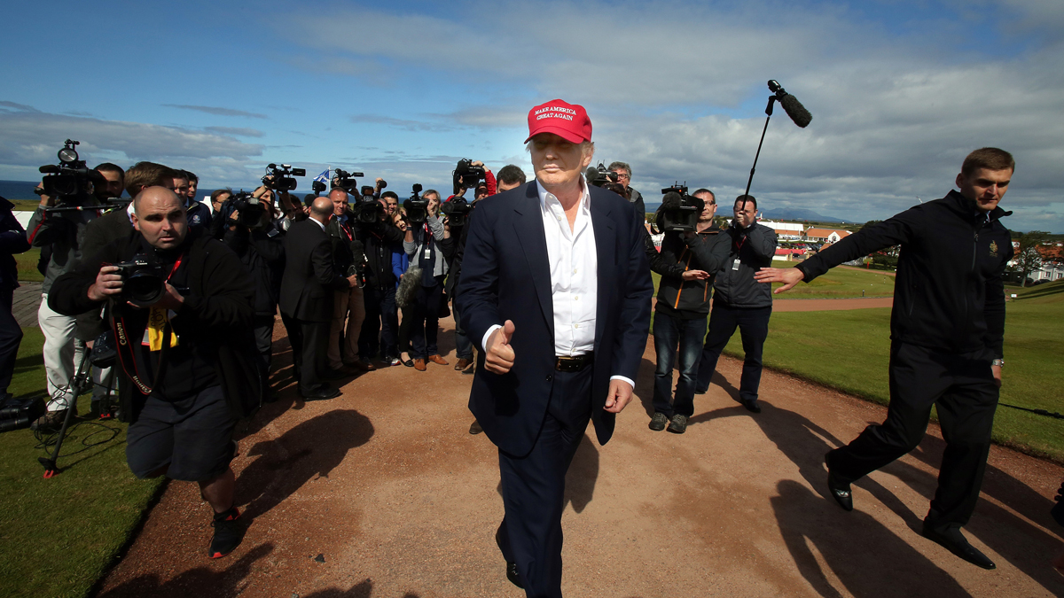 Donald Trump is pictured as he arrives at the Women's British Open Golf Championships in Turnberry, Scotland, on July 30, 2015.