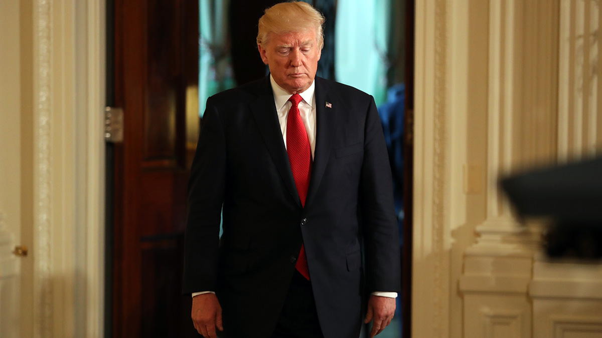 President Donald Trump arrives in the East Room of the White House in Washington, May, 18, 2017.