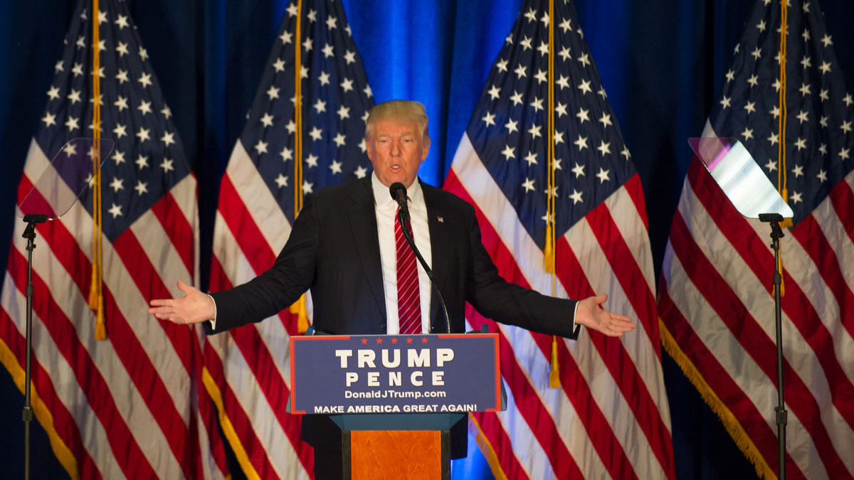 Republican Donald Trump holds a campaign event a Youngstown State University on August 15, 2016 in Youngstown, Ohio.