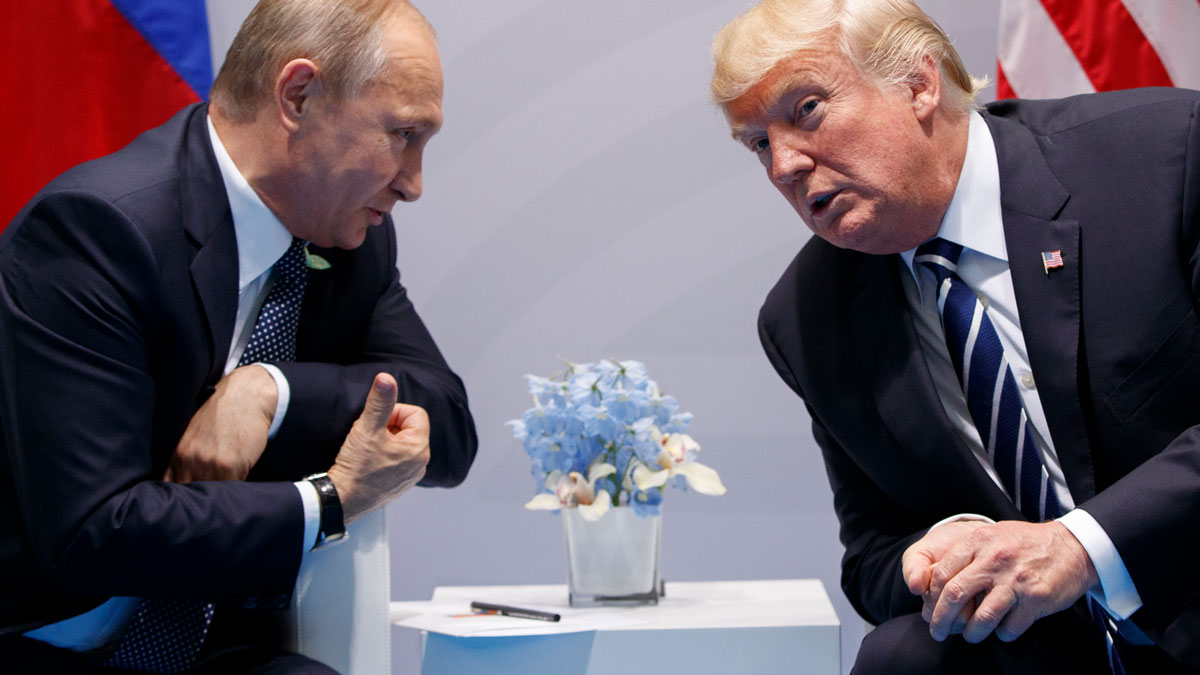 In this July 7, 2017 file photo, U.S. President Donald Trump meets with Russian President Vladimir Putin at the G-20 Summit in Hamburg.