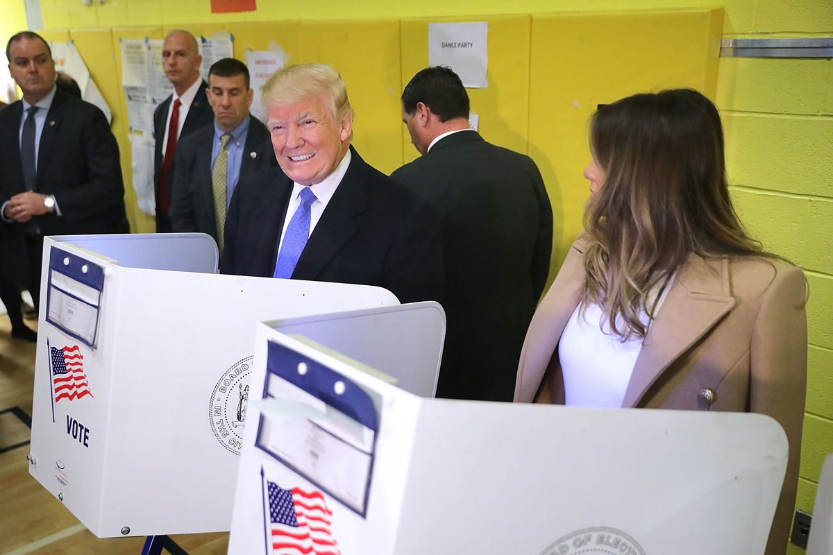 In this file photo, President Donald Trump and his wife Melania Trump cast their votes on Election Day at PS 59 November 8, 2016 in New York City.