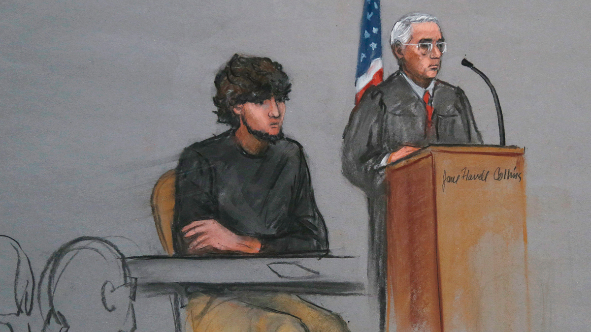FILE - In this Jan. 5, 2015, file courtroom sketch, Boston Marathon bombing suspect Dzhokhar Tsarnaev, left, is depicted beside U.S. District Judge George O'Toole Jr., right, as O'Toole addresses a pool of potential jurors in a jury assembly room at the federal courthouse, in Boston.