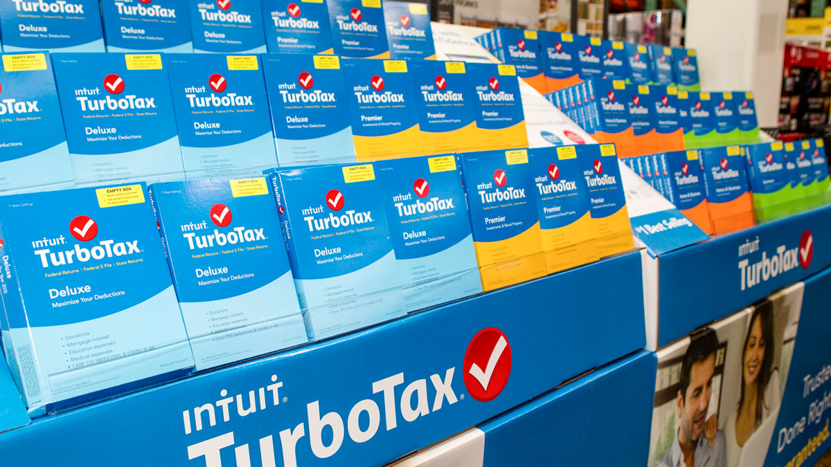 TurboTax products sit on display at Costco on January 28, 2016 in Foster City, California.