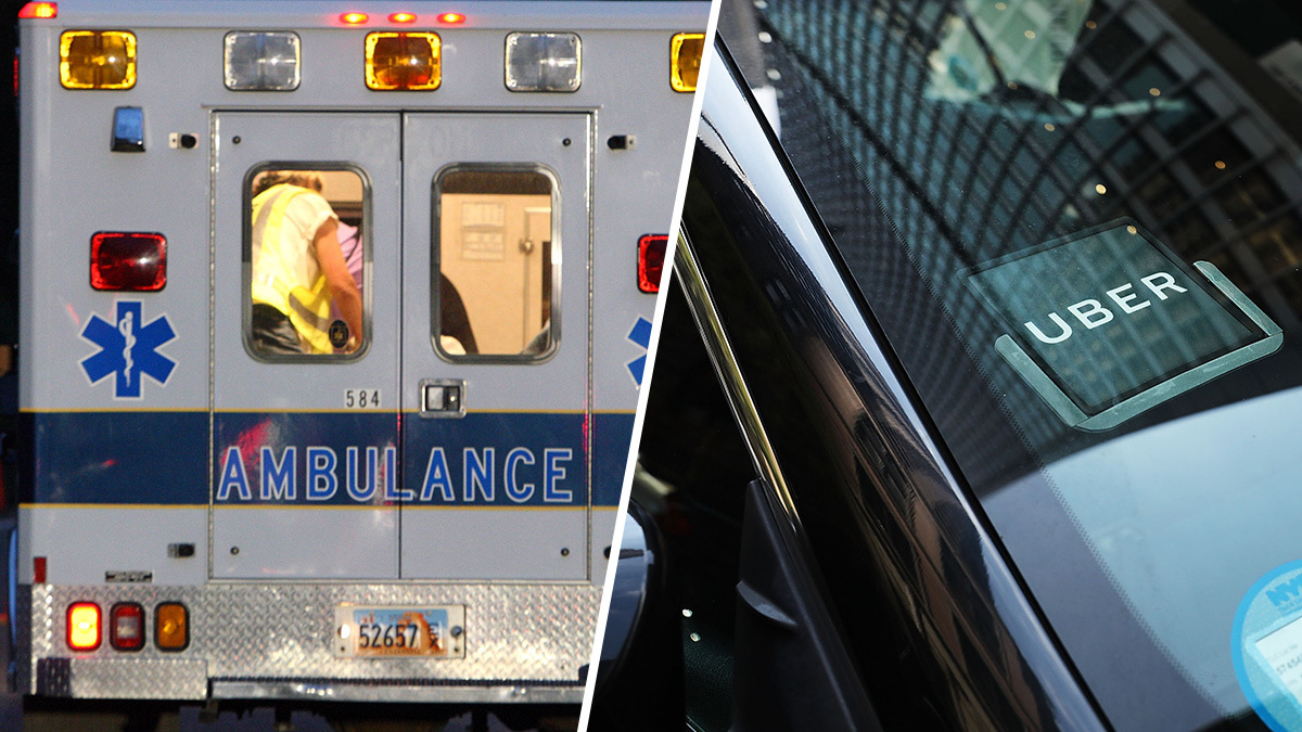 Left, In this file photo, an Emery County ambulance leaves the Crandall Canyon coal mine August 16, 2007, near Huntington, Utah. Right, In this file photo, an Uber car waits for a client on June 14, 2017, in New York City.