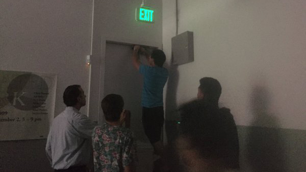 Carrie Rapaport tweeted this photo from inside Broad Art Center on UCLA's campus on June 1, 2016, saying that students were using her belt to bar the door after reports of a shooting on campus.