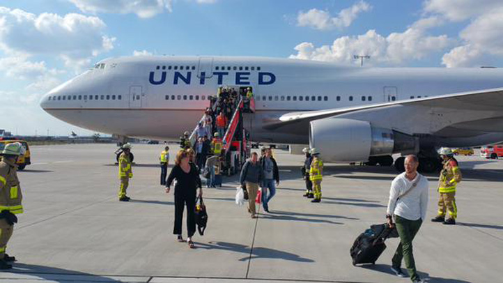 A United Airlines flight headed to San Francisco from Germany on the 14th anniversary of the Sept. 11 terrorist attacks was diverted back to Frankfurt, Friday, Sept. 11, 2015.