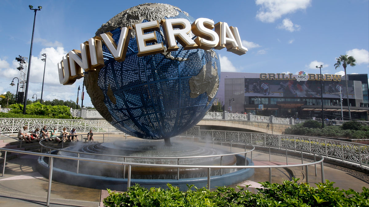 In this Thursday, Oct. 22, 2015, file photo, park guests relax at Universal Studios City Walk in Orlando, Florida.