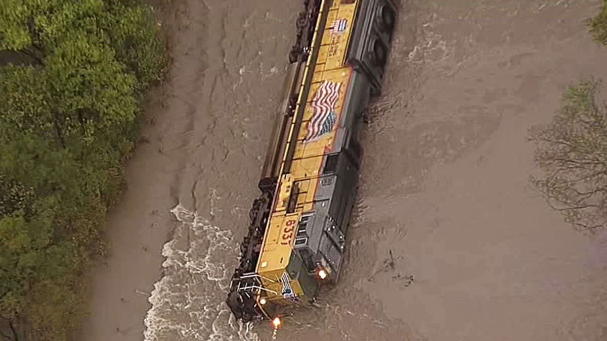 A Union Pacific train overturned in Navarro County Saturday, Oct. 24, after running into tracks submerged by high water.