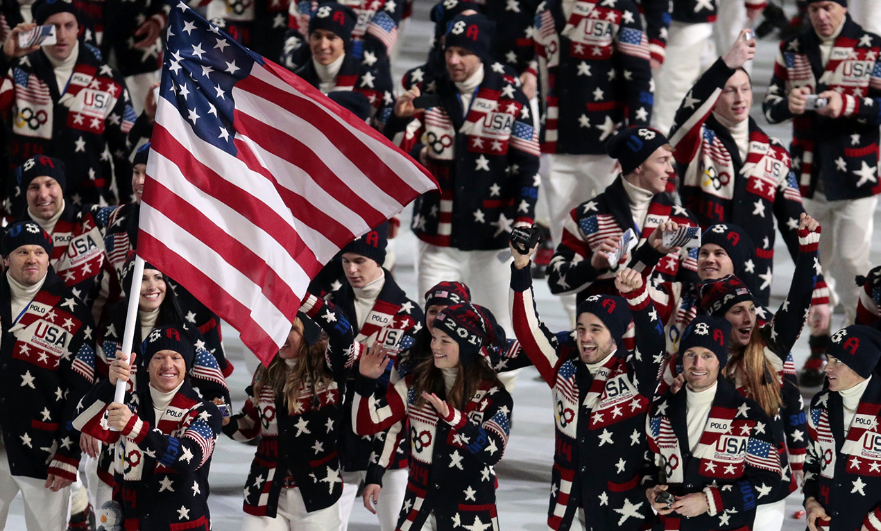 Team USA arrives during the Opening Ceremony of the 2014 Winter Olympics in Sochi.
