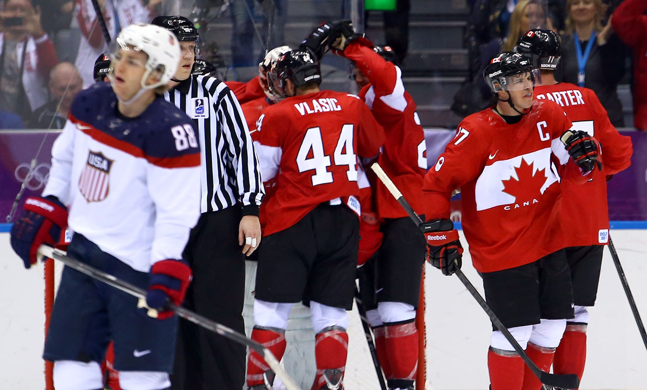 The American men's hockey team lost to Canada in the semifinals on Friday.