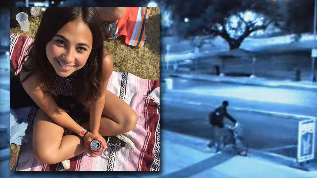 University of Texas student Haruka Weiser (inset) is shown over a surveillance photo released by the Austin Police Department showing a person of interest in her killing.