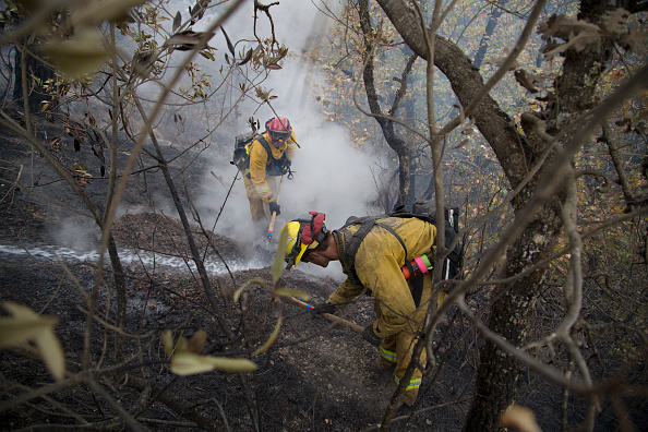 Firefighters put out a hot spot at the Valley Fire on September 15, 2015 in Middletown, California. The 104-square-mile fire destroyed 585 homes and hundreds of other structures.  (Photo by David McNew/Getty Images)