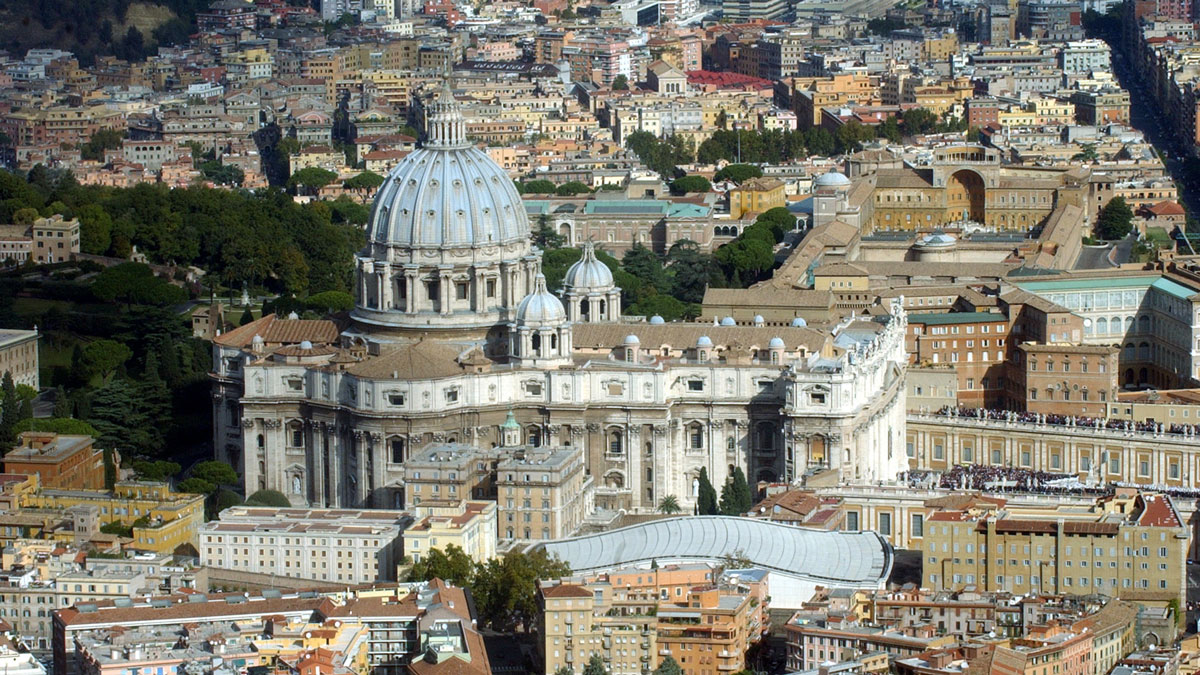 An aerial view of the Vatican with St. Peter's Basilica is seen in this file photo. The McDonald's opened Friday in the Pio Borgo district of Rome, about 100 yards from the Vatican State, the Catholic Press Agency reported.