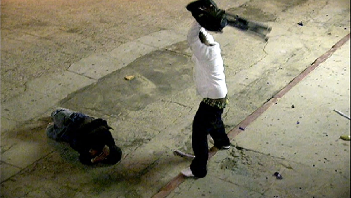 Two men, one armed with a folding chair, attacked a homeless man near the boardwalk Friday Dec. 13, 2013.