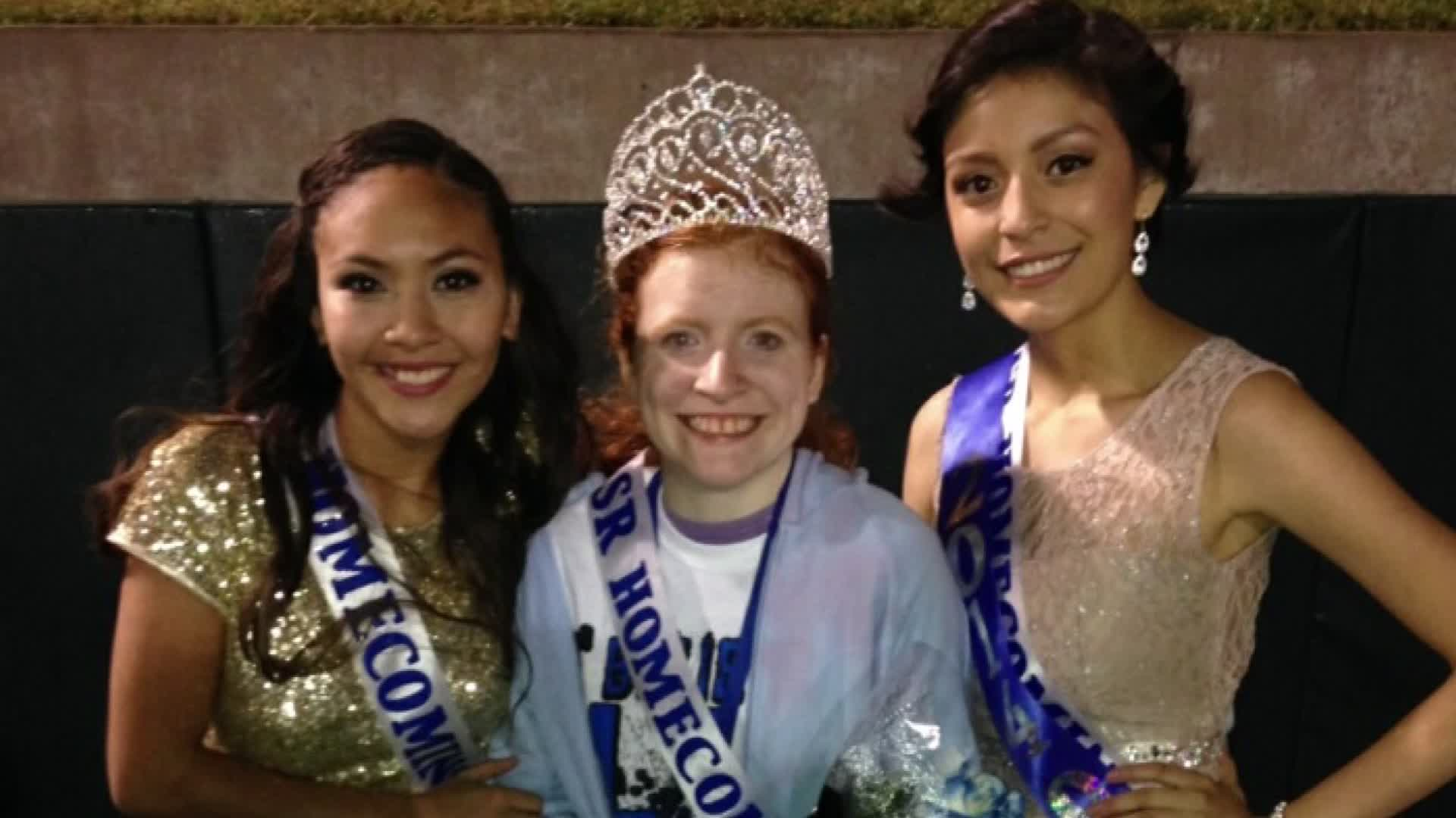 (From left) Naomi Martinez, Lillian Skinner and Anahi Alvarez pose after the Grand Prairie High School homecoming coronation on Friday, Sept. 12.