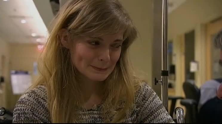 Boston Marathon bombing survivor Victoria McGrath in the hospital after the April 2013 attack.
