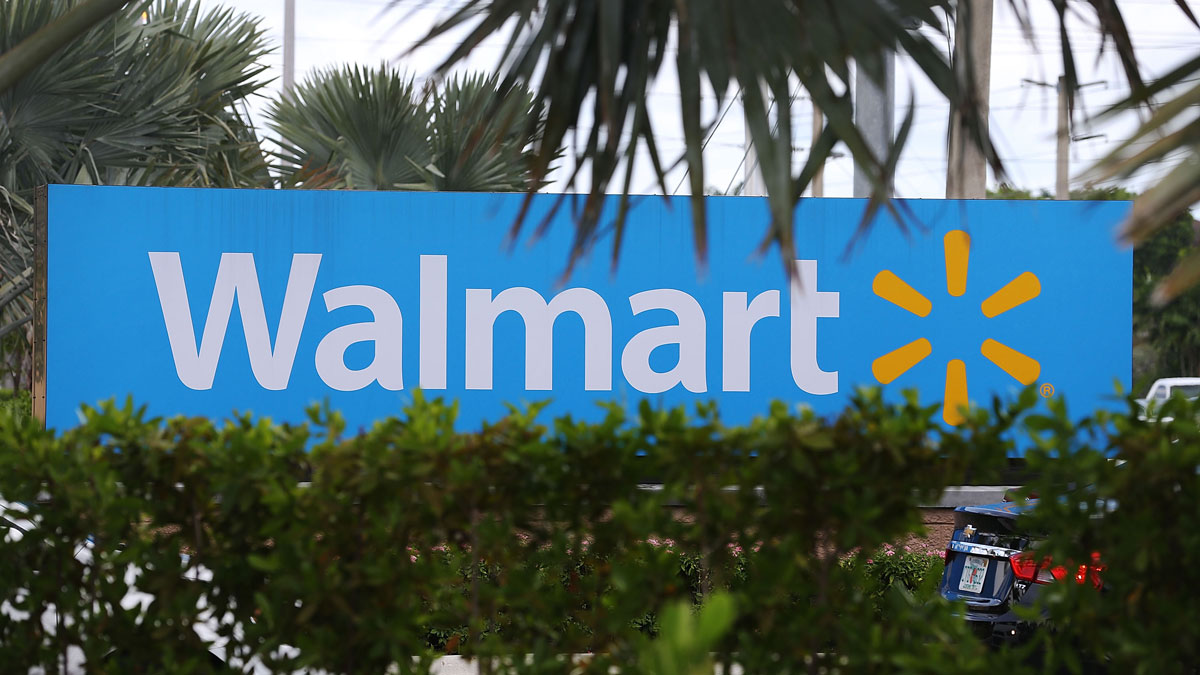 File - A Wal-Mart sign in Miami, Florida.