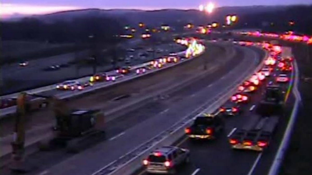 Traffic was slow-going along I-84 in Waterbury on Wednesday morning.