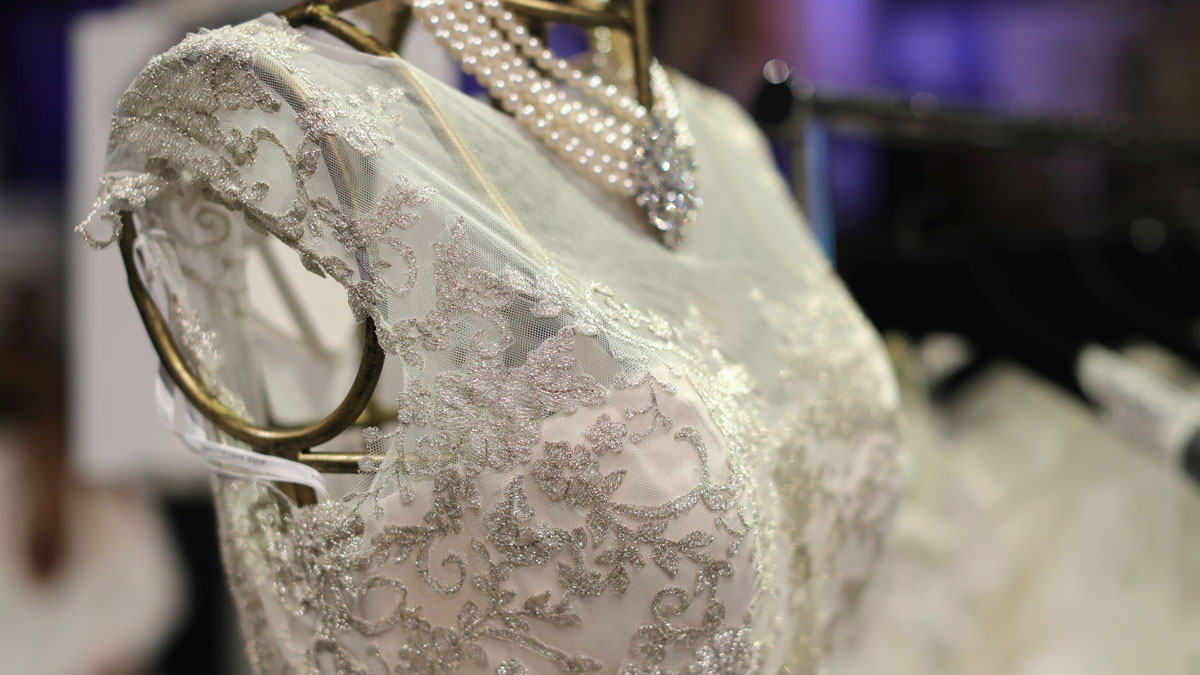 A detail shot of a wedding dress at New York Magazine's New York Weddings event at Capitale on March 31, 2016 in New York City.
