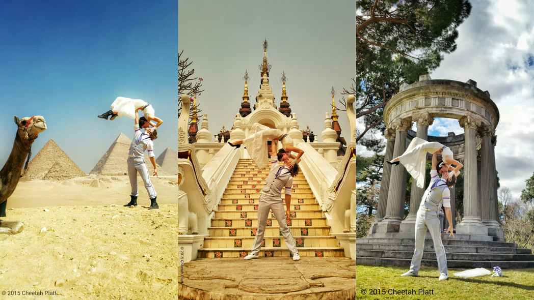 Rather than walking down the aisle just once, Cheetah Platt and Rhiann Woodyard are getting married at exotic locations around the world, sharing pictures from each location. From left: Giza, Egypt; Chiang Mai, Thailand; Madrid, Spain.