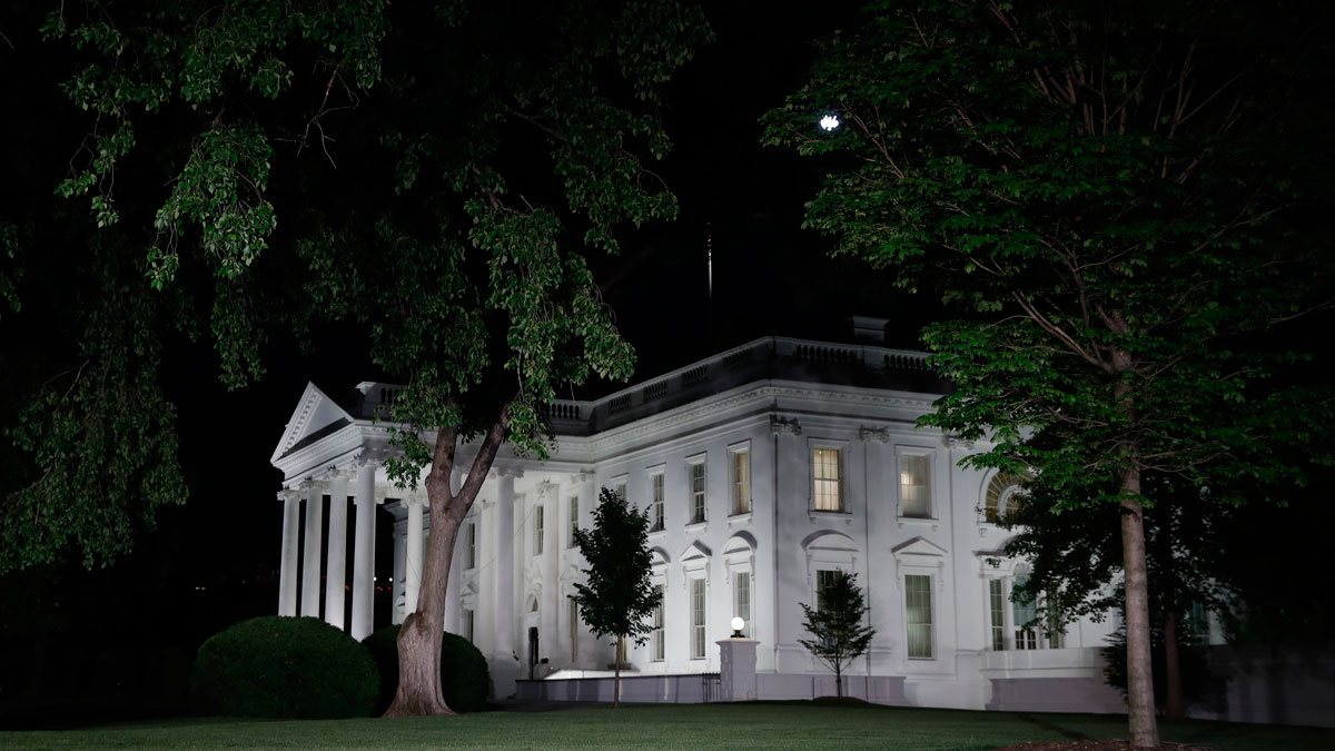 The White House is seen in Washington, Tuesday night, May 9, 2017.
