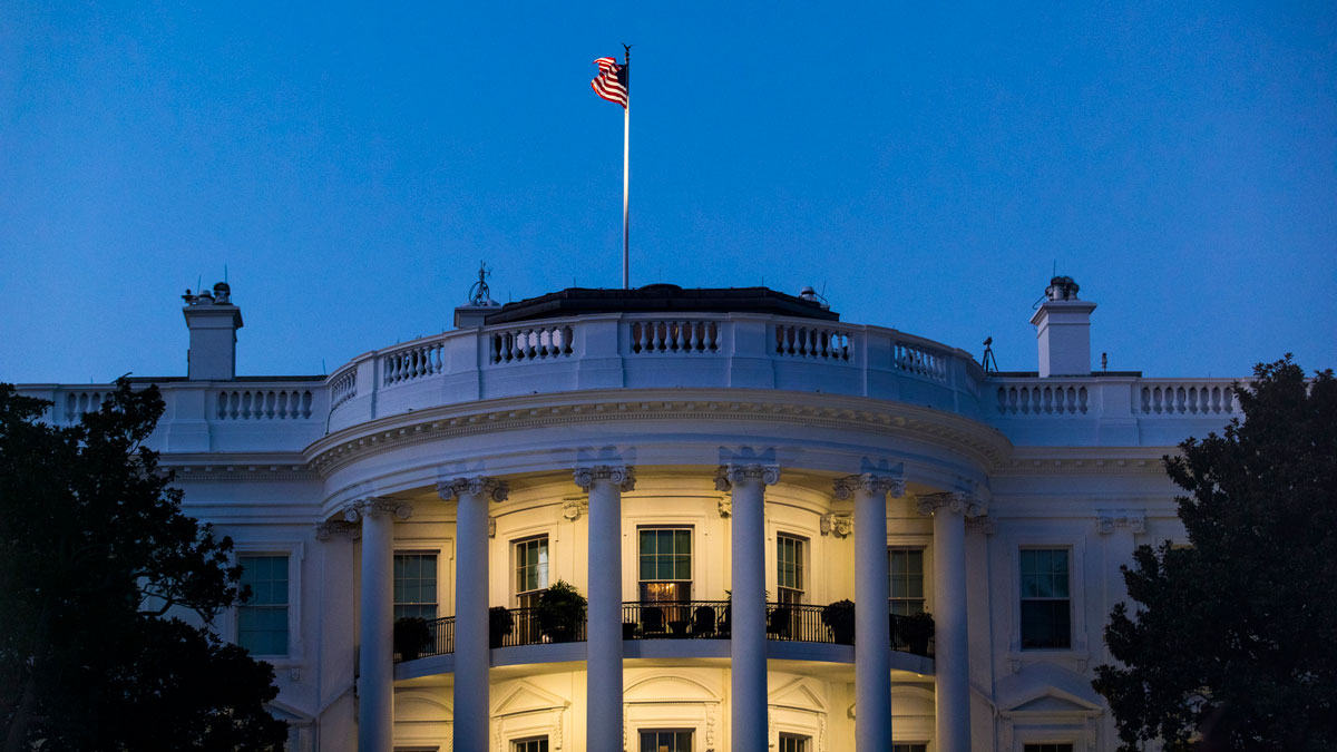 The south facade of the White House at dusk, including the Truman Balcony, October 3, 2016 in Washington, DC.