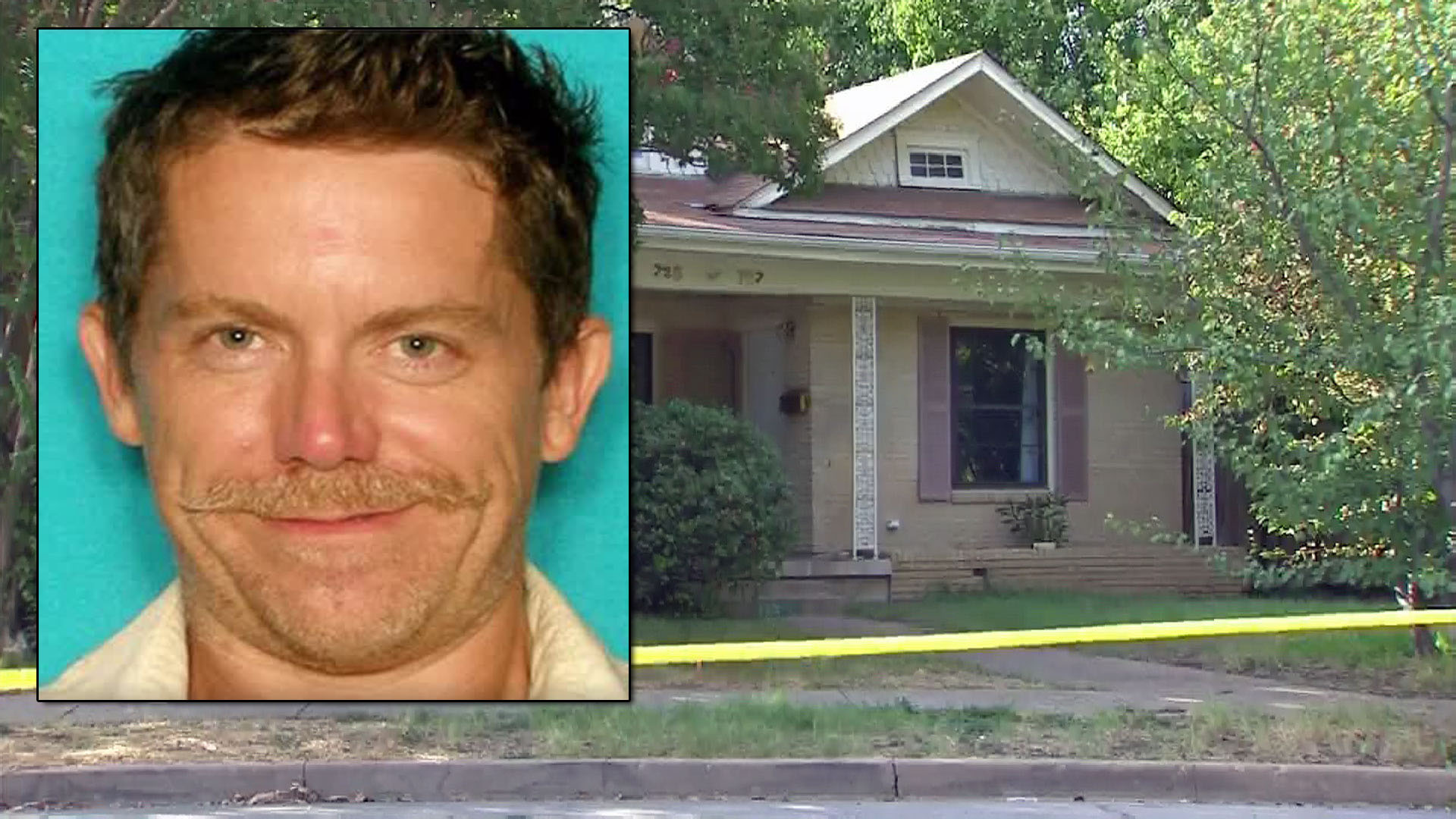Christopher Brian Colbert (inset, in a previous mugshot) is suspected of posing as his deceased neighbor to sell the neighbor's home, in the 700 block of Winnetka Avenue in Dallas, police say.