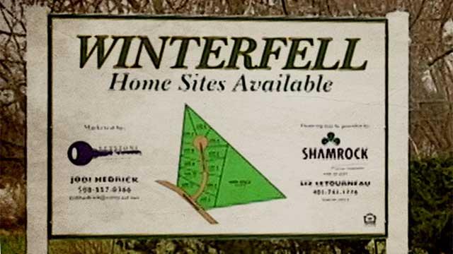 A sign for the Winterfell development in Seekonk, Massachusetts.