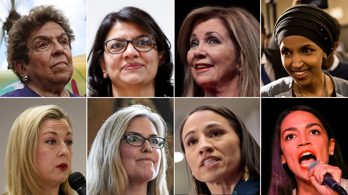 From top-left, clockwise: Donna Shalala, projected winner of Florida's 27th congressional district; Rashida Tlaib, projected winner of Michigan's 13th district; Marsha Blackburn, projected winner for Tennessee senator; Ilhan Omar, projected winner of Minnesota's 5th district; Alexandria Ocasio-Cortez, projected winner of New York's 14th district; Sharice Davids, projected winner of Kansas's 3rd district; Jennifer Wexton, projected winner of Virginia's 10th district; Kendra Horn, projected winner of Oklahoma's 5th district.