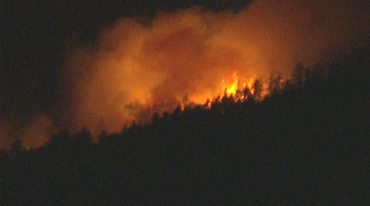 Angeles National Forest was being evacuated Friday night because of a brush fire that erupted around 10 p.m and threatening some structures, July 17, 2015.