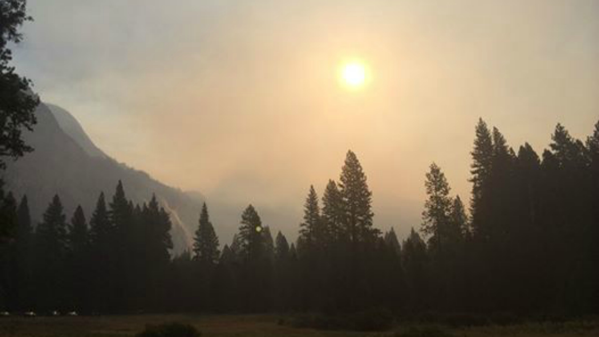 Air quality in Yosemite Valley has deteriorated on Tuesday due to smoke from the Meadow Fire. The shadow of Half Dome is barely visible in this view from Cook's Meadow. Sept. 9, 2014