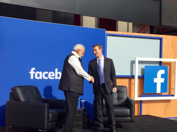 Facebook CEO Mark Zuckerberg hosted a town hall with Indian Prime Minister Narendra Modi at Facebook's headquarters in Menlo Park on Sunday, Sept. 27, 2015.